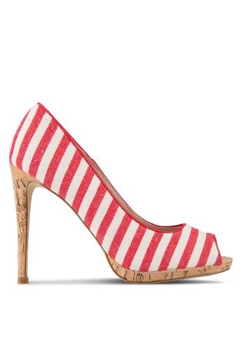 Nose red Linen Peep Toe Heels NO327SH74SKBMY_1