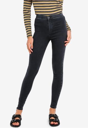 TOPSHOP black Moto Washed Black Joni Jeans TO412AA12MATMY_1