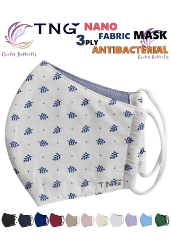 Cantik Butterfly TNG 3 Ply Antibacterial Nano Fabric Mask Reusable (Blue Leaf) Set of 5 784F1ESB275978GS_1