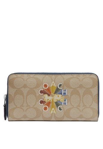 Coach brown and blue Accordion Zip Wallet (cv) F7D99AC0E91BB7GS_1