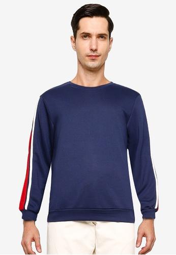 ZALORA BASICS navy Contrast Trim Sweatshirt 687D5AA5F4560BGS_1