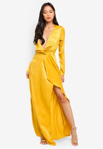 MISSGUIDED yellow Wrap Front Maxi Dress 17BEBAA6F9CA51GS_1