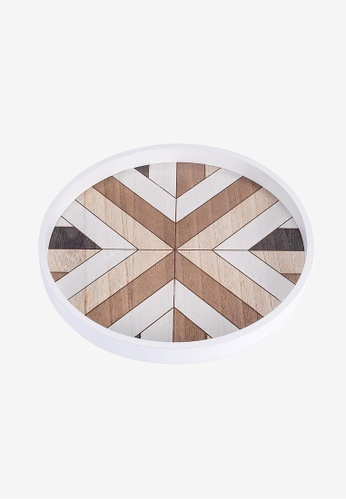 Propstation white and brown Geometric Pattern Round Wooden Decorative Tray - 30cm 280EAHL5907EEBGS_1