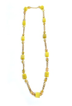 Sarah Cubes and Chains Long Necklace