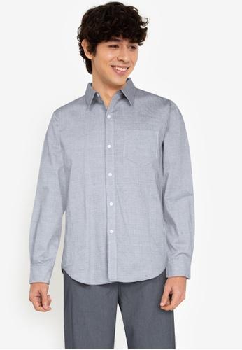 ZALORA BASICS black Weave Pattern Shirt 2484DAA2054B7AGS_1