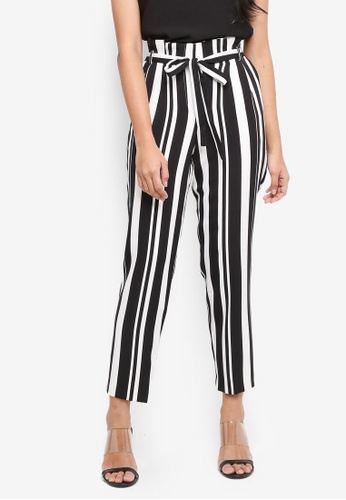 Miss Selfridge black Striped Paperbag Trousers 63C3CAAD275912GS_1