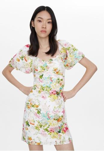 Pomelo white Mini Floral Eyelet Dress - White 25E79AA19645F3GS_1