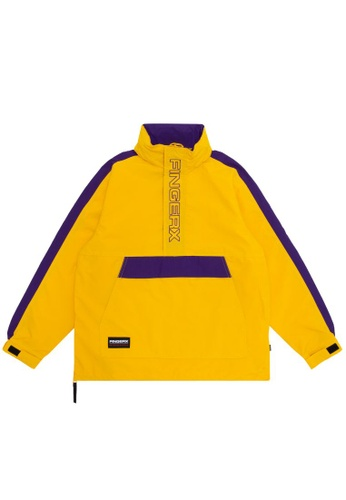 Fingercroxx yellow Panelled logo anorak jacket 2F8BEAA252B75CGS_1