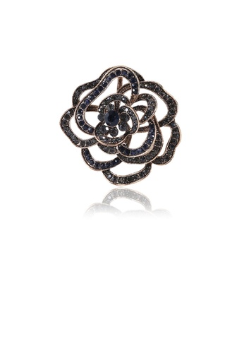 Glamorousky black Fashion Simple Plated Gold Hollow Rose Brooch with Black Cubic Zirconia C3633ACA855090GS_1