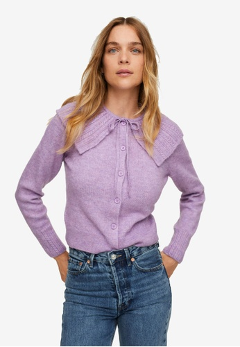 Mango purple Baby Doll-Neck Cardigan E5497AAFC5E972GS_1