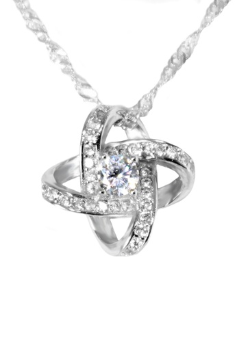 Elfi 925 Sterling Silver With 18K White Gold Plating Atom Orbit Shape White  Crystal Necklace Pendant SP83