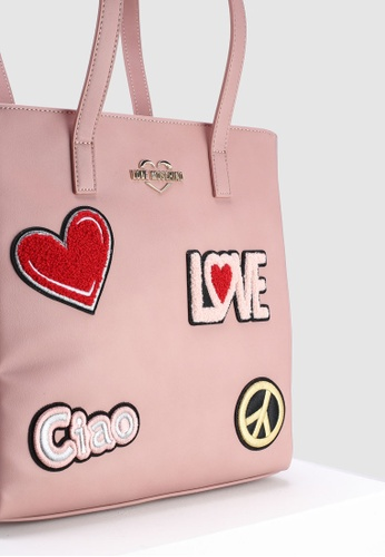 Shop Love Moschino Tote Bag With Decorative Patches Online on ZALORA  Philippines 6dd53e283c