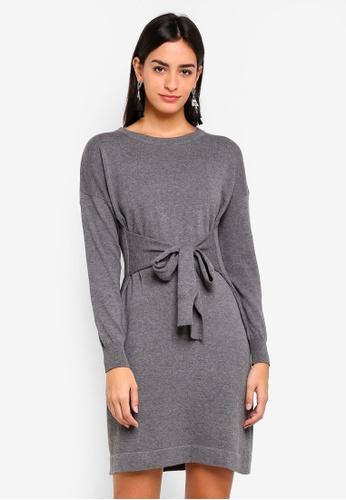 ZALORA grey Sweatshirt Dress With Waist Tie 5B5ADAA4091D4CGS_1