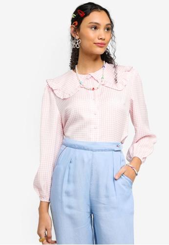 Lubna pink Ruffle Collar Checkered Blouse 514A1AAF1B98E1GS_1