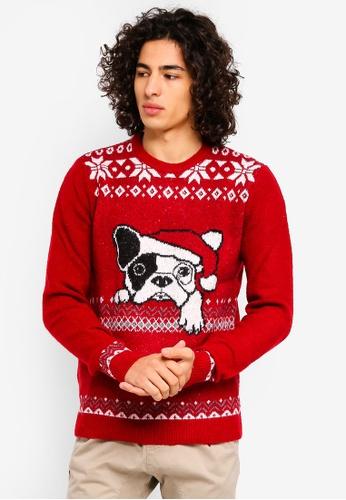 MANGO Man 紅色 聖誕節提花毛衣 D4497AAA3D5F9AGS_1