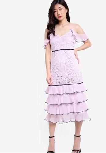 TOPSHOP purple Soft Ruffle Midi Dress TO412AA52GDRMY_1