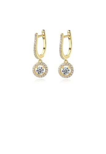 Glamorousky white 925 Sterling Silver Plated Gold Fashion and Elegant Geometric Round Earrings with Cubic Zirconia 043CFACCCA18D4GS_1