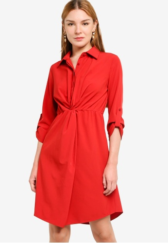 ZALORA WORK red Knotted Detail Shirt Dress 54EE6AADCD1A79GS_1