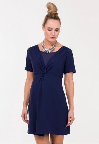 Bove by Spring Maternity blue and navy Woven Short Sleeves Bidelia Overlapping Dress IDN5102 SP010AA70GJLSG_1