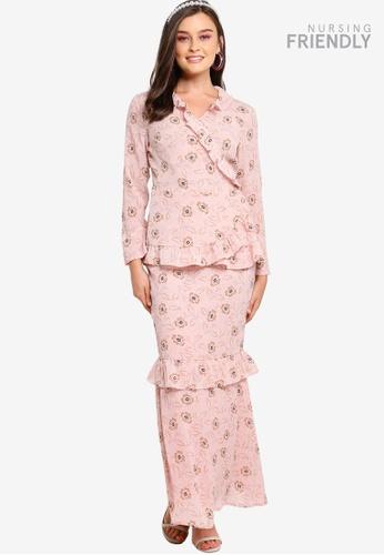 Lubna pink Frills Wrap Top Kurung 59977AAFD0BB7CGS_1