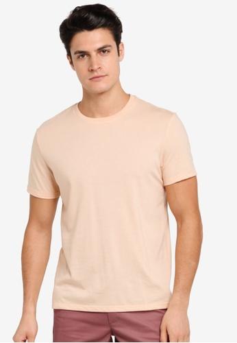 Burton Menswear London orange Light Coral Crew Neck T-Shirt BU964AA0T1HEMY_1