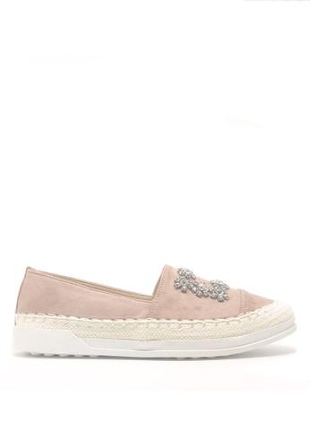 Twenty Eight Shoes 粉紅色 閃石方扣猄布草底輕便鞋A27-267 DCAB5SH7D1E7E1GS_1