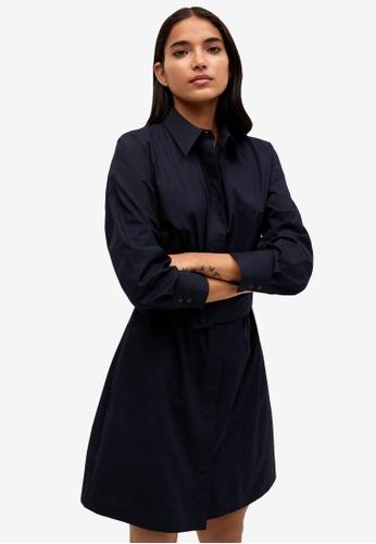 Mango blue Popelin Belt Dress D7901AA81F83ACGS_1