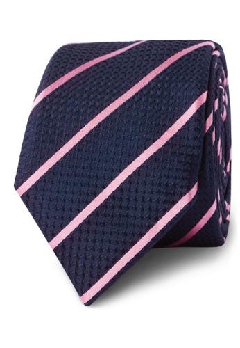 b1bc062cbd1b T.M. LEWIN navy T.M.Lewin Navy Pink Stripe Slim Silk Tie B0BB3ACDC933D5GS_1