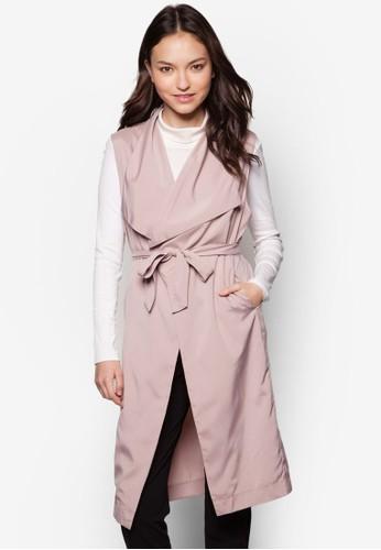 Sarah 翻領開襟長版外套, 服飾, 外esprit 錶套