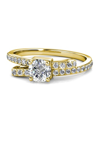 Her Jewellery gold Crystaline Bow Ring (Yellow Gold) - Made with premium grade crystals from Austria 233FAAC1ECEB6BGS_1