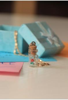 Crafatika's Bottled Red Origami Rose Necklace