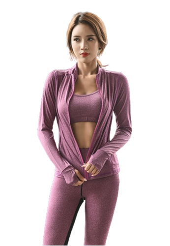 B-Code purple ZYG3057-Lady Quick Drying Running Fitness Yoga Sports Jacket -Purple 73A6EAA8A43648GS_1