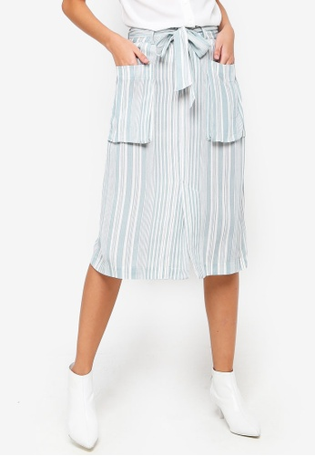 ZALORA white and green and multi Cargo Pocket Skirt FDE69AA1530AC0GS_1