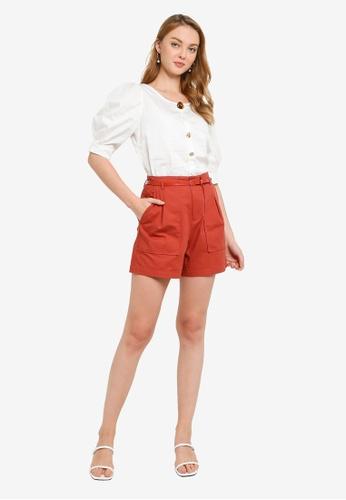 Hopeshow orange Paperbag Waist Linen Shorts with Belt A4796AA2174DFDGS_1