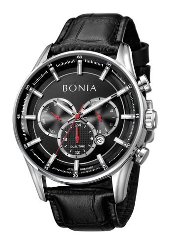 BONIA black Bonia B10359-1332C - Jam Tangan Pria - Black Silver 54955ACD73416CGS_1