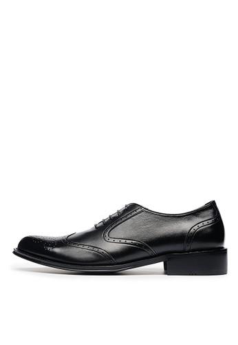 MIT。W型雕花全真皮牛津鞋-04612-黑色, 鞋, esprit 香港皮鞋
