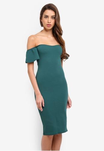 MISSGUIDED green Bardot Bodycon Mini Dress AFB29AA638818CGS_1