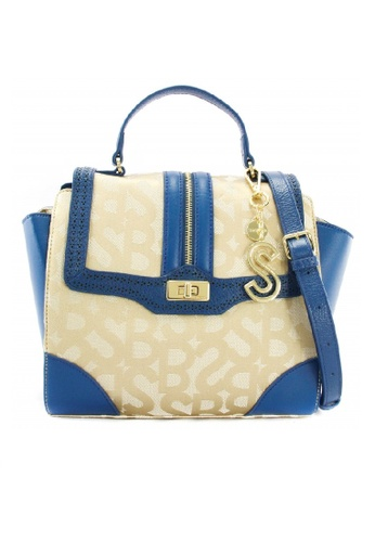 SEMBONIA blue SEMBONIA Jacquard Trimmed Leather Monogram Turnlock Satchel Bag SE598AC0RALMMY_1
