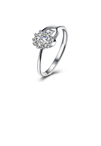 Glamorousky white 925 Sterling Silver Fashion Simple Heart Adjustable Ring with Cubic Zircon 268A5AC50DABA5GS_1