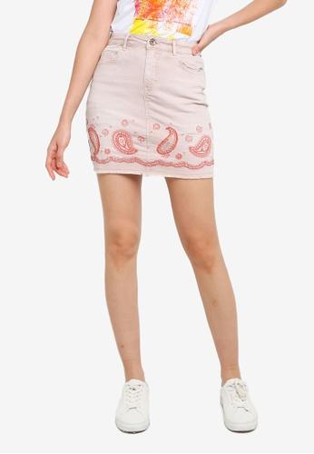 Desigual pink Short Denim Paisley Skirt F44DFAA3A10DC6GS_1