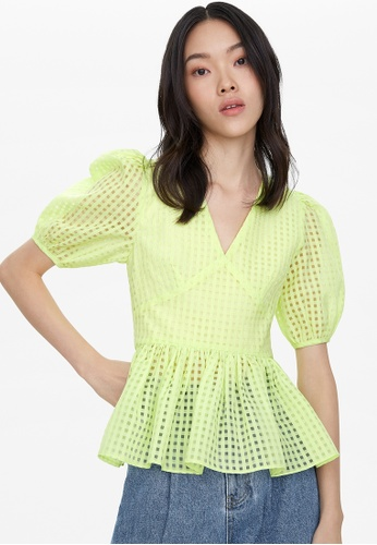 Pomelo yellow Open Back Peplum Blouse - Yellow 70F5CAAB4BF53EGS_1