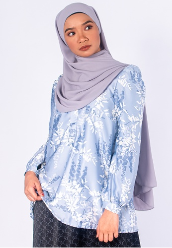 Zaryluq blue Bloom Placket Top in Forget-Me-Not 96F35AAEE85077GS_1
