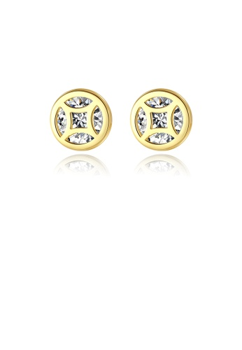 Glamorousky white 925 Sterling Silver Plated Gold Simple Fashion Geometric Round Earrings with Cubic Zirconia 02951ACA2FE680GS_1