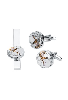 437241999fc Kings Collection silver Mechanical Movement Watch Tie Clip Cufflinks Set  CBC0EACC46D9E0GS 1