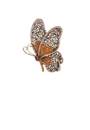 Glamorousky brown Elegant Vintage Plated Gold Butterfly Brooch with Brown Cubic Zirconia C50AEAC3D564EEGS_1