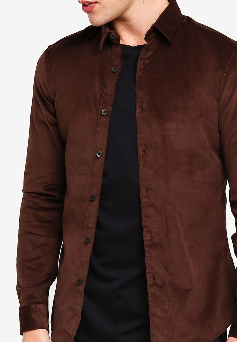 Corduroy Topman Long Fit Shirt Brown Brown Sleeve Muscle ZvnfnYx