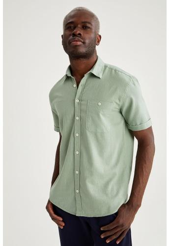 DeFacto green Short Sleeve Cotton Shirt 23BFDAA316A220GS_1