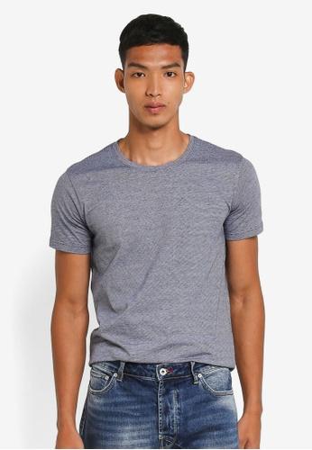 !Solid 海軍藍色 短袖紋理T恤 B8E1BAA326D79AGS_1