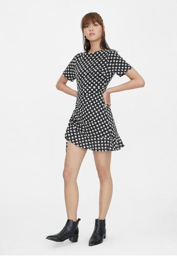 Pomelo black Mini Floral Side Ruched Dress - Black 1138FAADB9B2AAGS_1