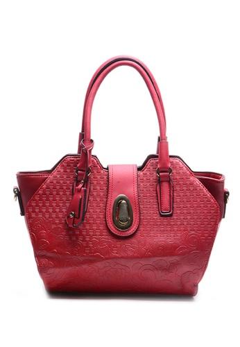 House Of Bai Red European Design Structured Leather Handbag Ho716ac32fpnph 1